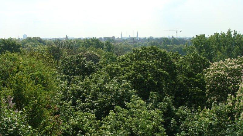Park in Halle Blick Richtung Innenstadt