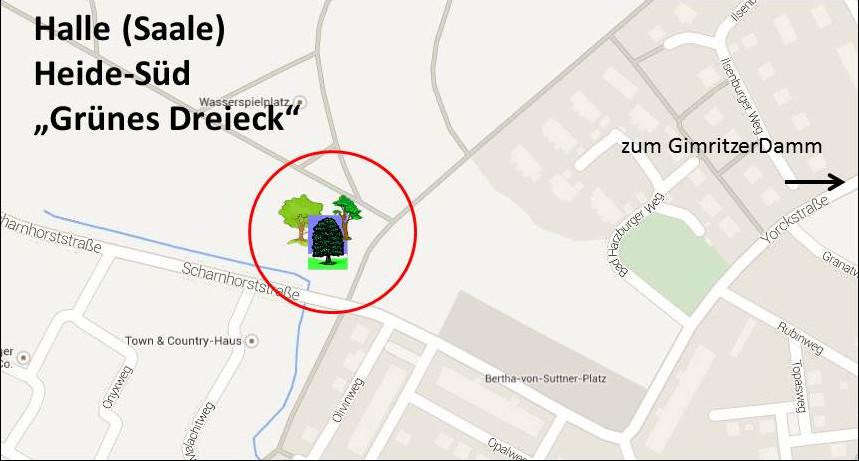 Grünes Dreieck in Halle